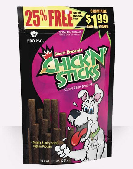 Pro Pac Ultimates Smart Rewards Chick 'N' Sticks Dog Treats, 7.2-oz