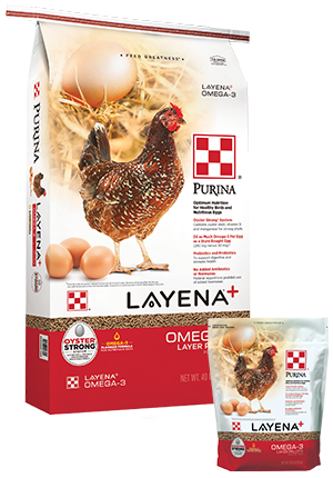 PurinaLayena Plus Omega-3 Poultry Feed, 40-lb