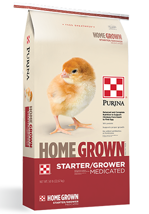 Purina Home Grown Starter/Grower Medicated Chicken Feed, 50-lb