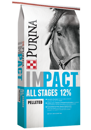 PurinaImpact All Stages 12% Pelleted Horse Feed, 50-lb