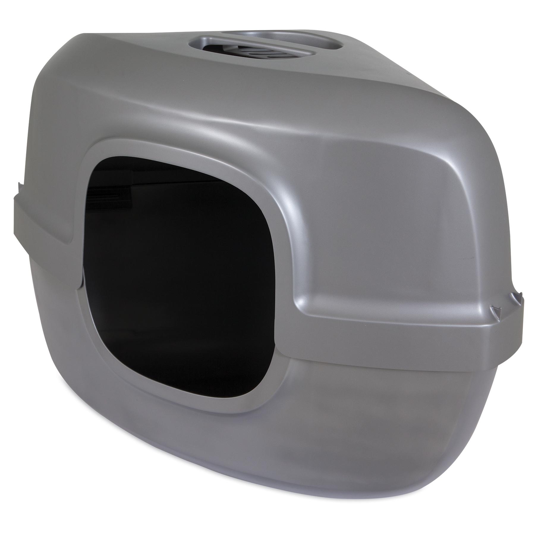 Petmate Hooded Corner Litter Pan, Pearl Silver