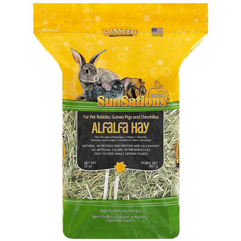 Sunseed SunSations Natural Alfalfa Hay, for Rabbits, Guinea Pigs, and Chinchillas, 32-oz bag