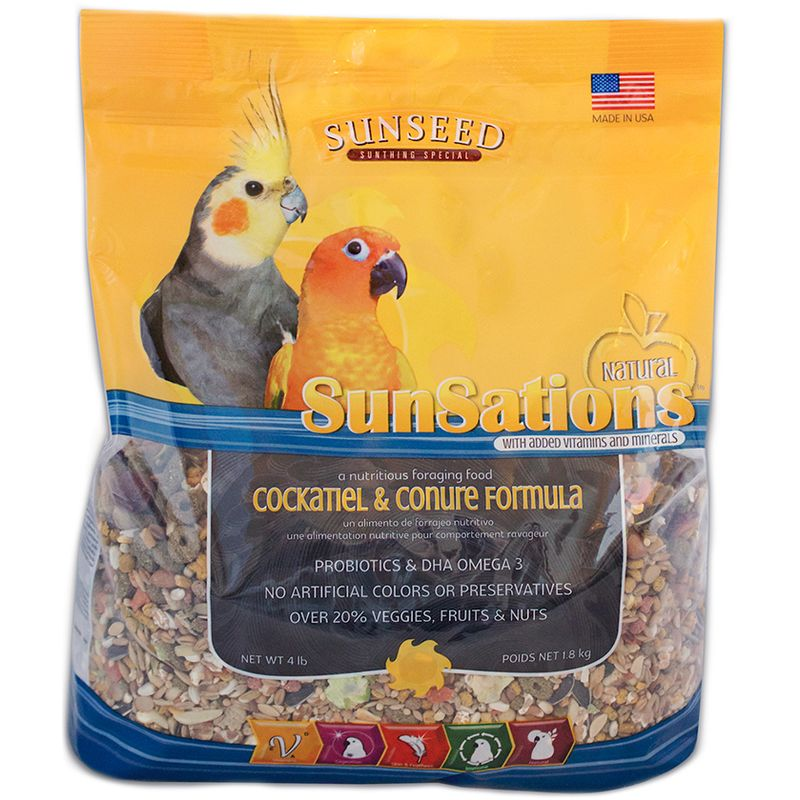 Sunseed SunSations Natural Cockatiel & Conure Formula, 4-lb bag