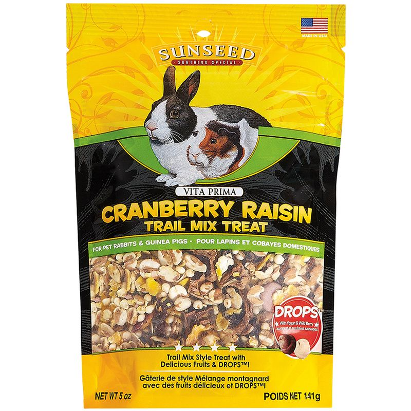 Sunseed Vita Prima Cranberry Raisin Trail Mix Treat for Rabbits and Guinea Pigs, 5-oz bag