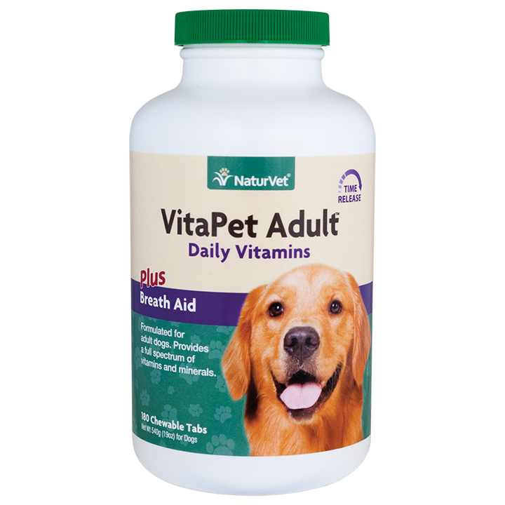 NaturVet VitaPet Adult Daily Vitamins Plus Breath Aid Chewable Dog Tablets, 180-count