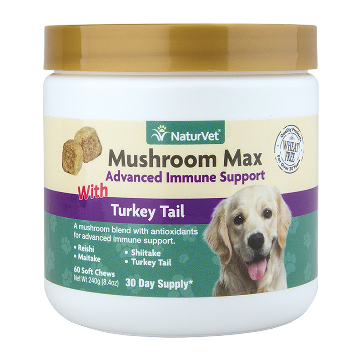 NaturVet Mushroom Max Advanced Immune System Dog & Cat Soft Chews w/ Turkey Tail, 60-count