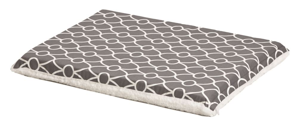 Midwest QuietTime Defender Geo Print/Fleece Reversible Pet Crate Pad with Teflon Fabric Protector, Grey, 36-in