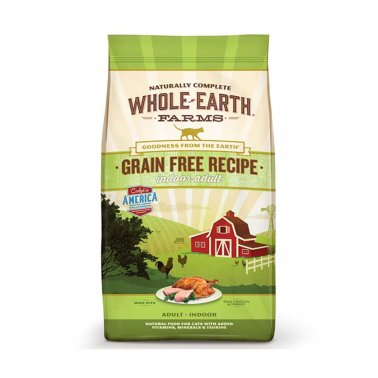 Whole Earth Farms Grain-Free Indoor Adult, Real Chicken & Turkey, Dry Cat Food, 10-lb bag