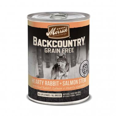 Merrick Backcountry Grain Free - Hearty Rabbit + Salmon Stew, Canned Dog Food, 12.7-oz