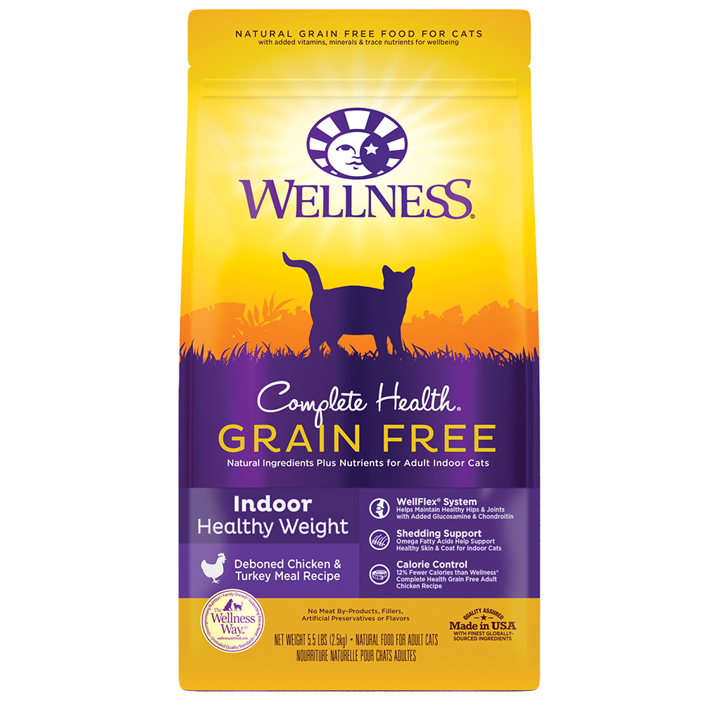 Wellness Complete Health Grain-Free Indoor Healthy Weight, Deboned Chicken & Turkey Meal Recipe Dry Cat Food, 5.5-lb bag