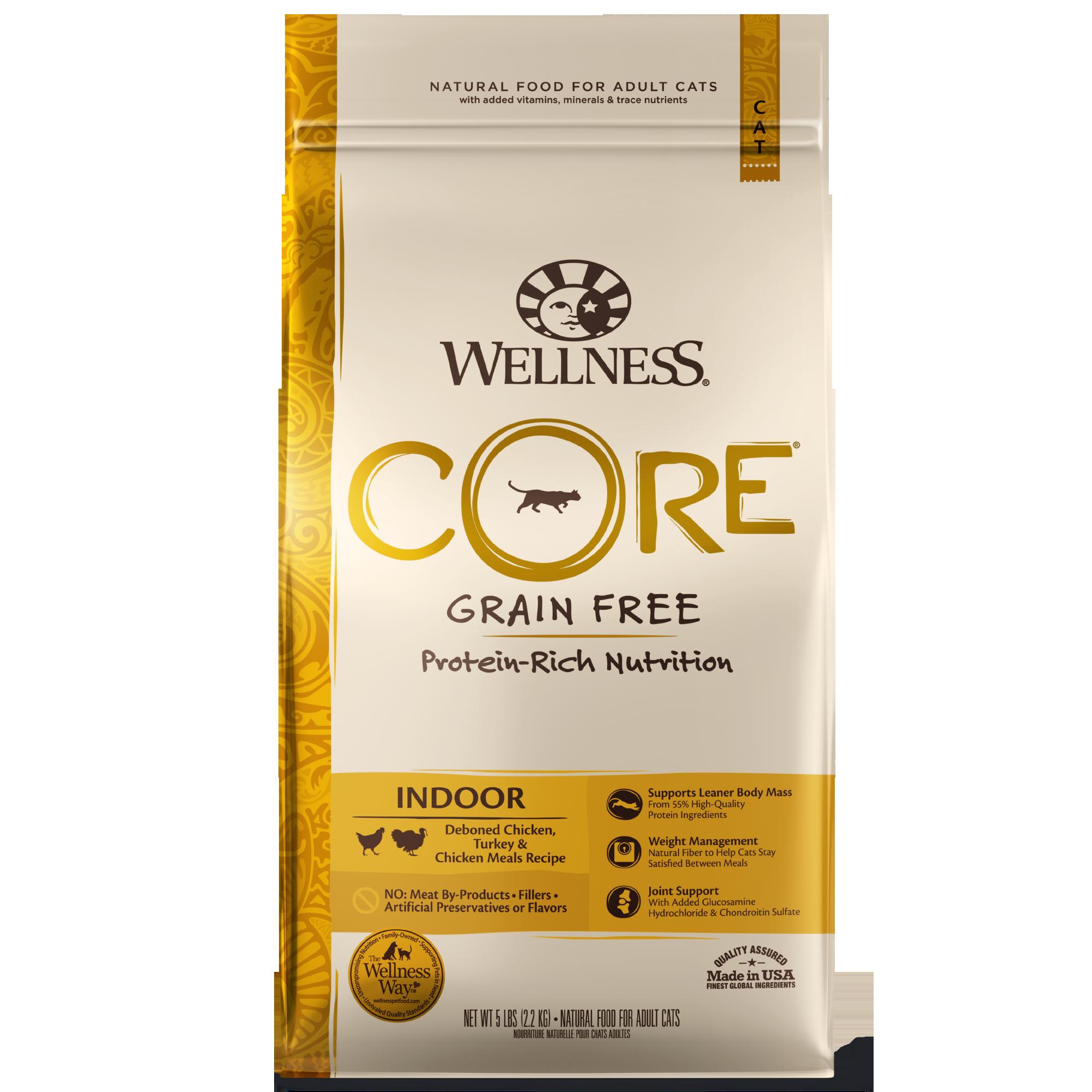 Wellness Core Grain-Free Indoor, Chicken, Turkey, & Chicken Meals Recipe Dry Cat Food, 2-lb bag