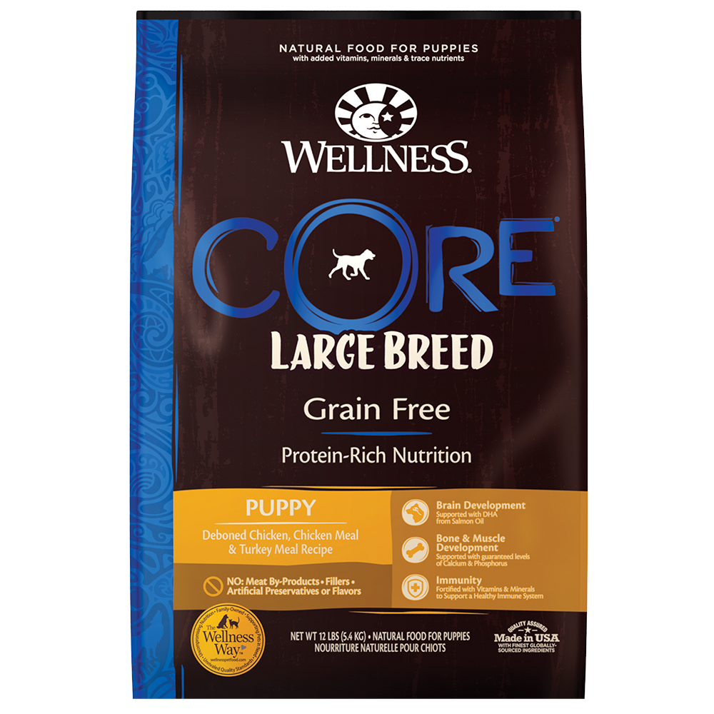 Wellness Core Grain-Free, Puppy, Deboned Chicken, Chicken Meal, & Turkey Meal Recipe Dry Dog Food, 24-lb bag