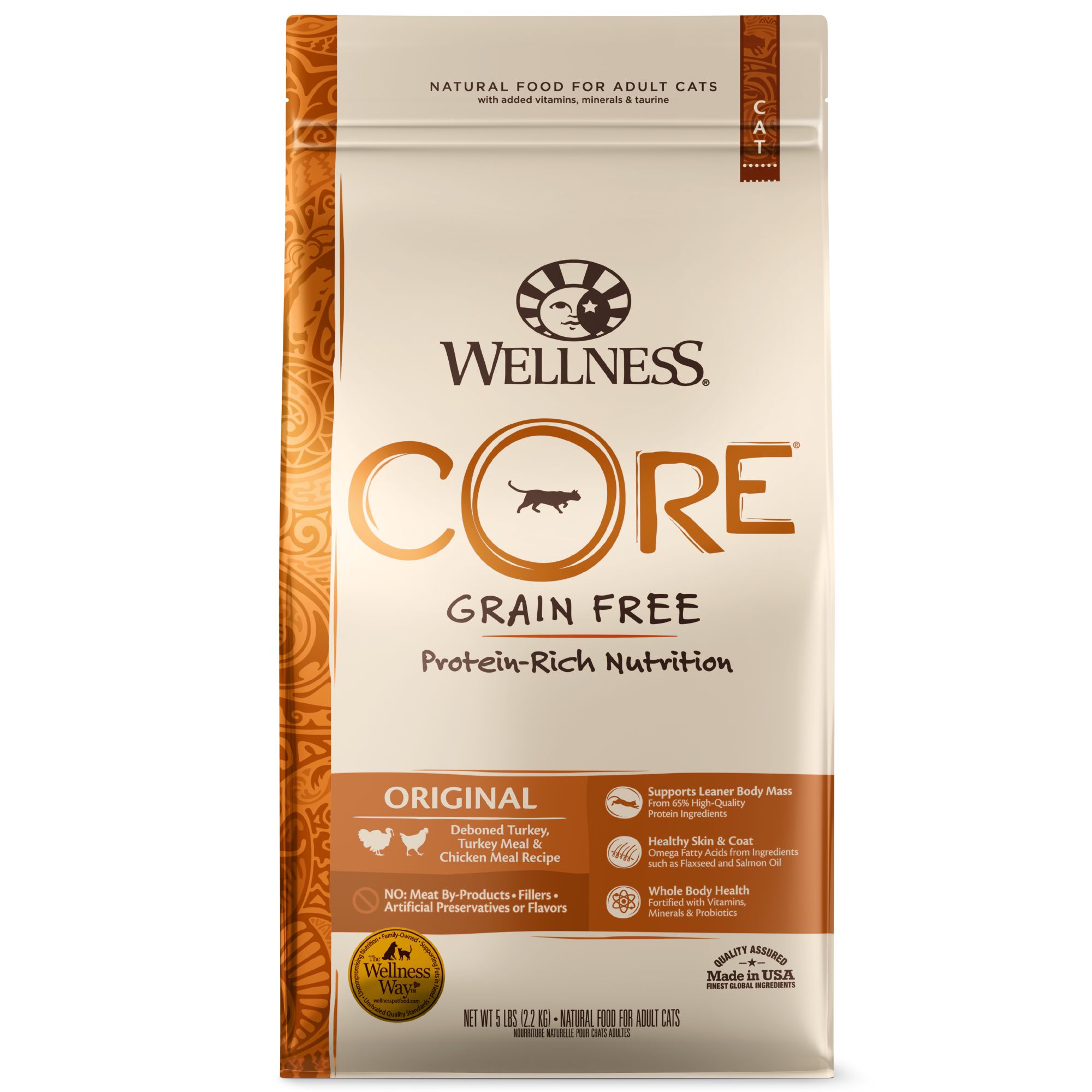 Wellness Core Original, Grain-Free Deboned Turkey, Turkey Meal & Chicken Meal Recipe Dry Cat Food, 2-lb bag