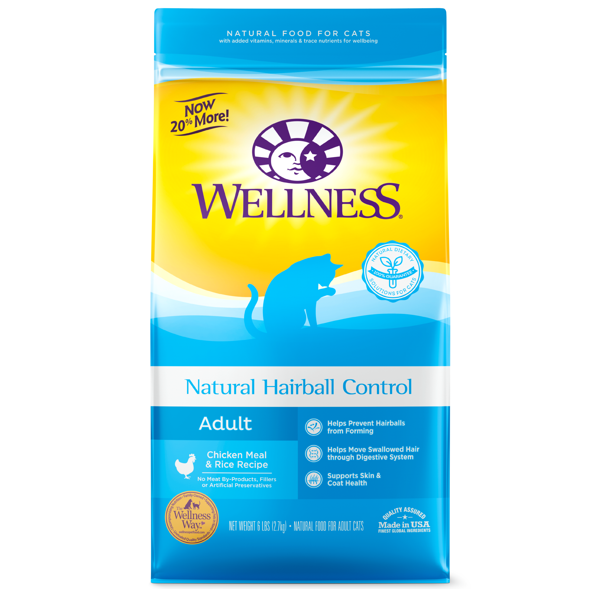 Wellness Hairball Control Adult, Chicken Meal & Rice Recipe Dry Cat Food, 6-lb bag