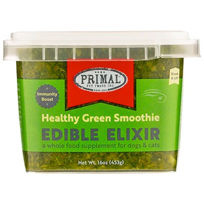 Primal Edible Elixir Healthy Green Smoothie Immunity Boost Dog & Cat Food Topper, 16-oz