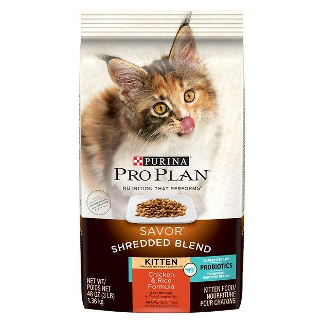 Purina Pro Plan Savor Shredded Blend Chicken & Rice Kitten Formula Dry Cat Food, 5-lb