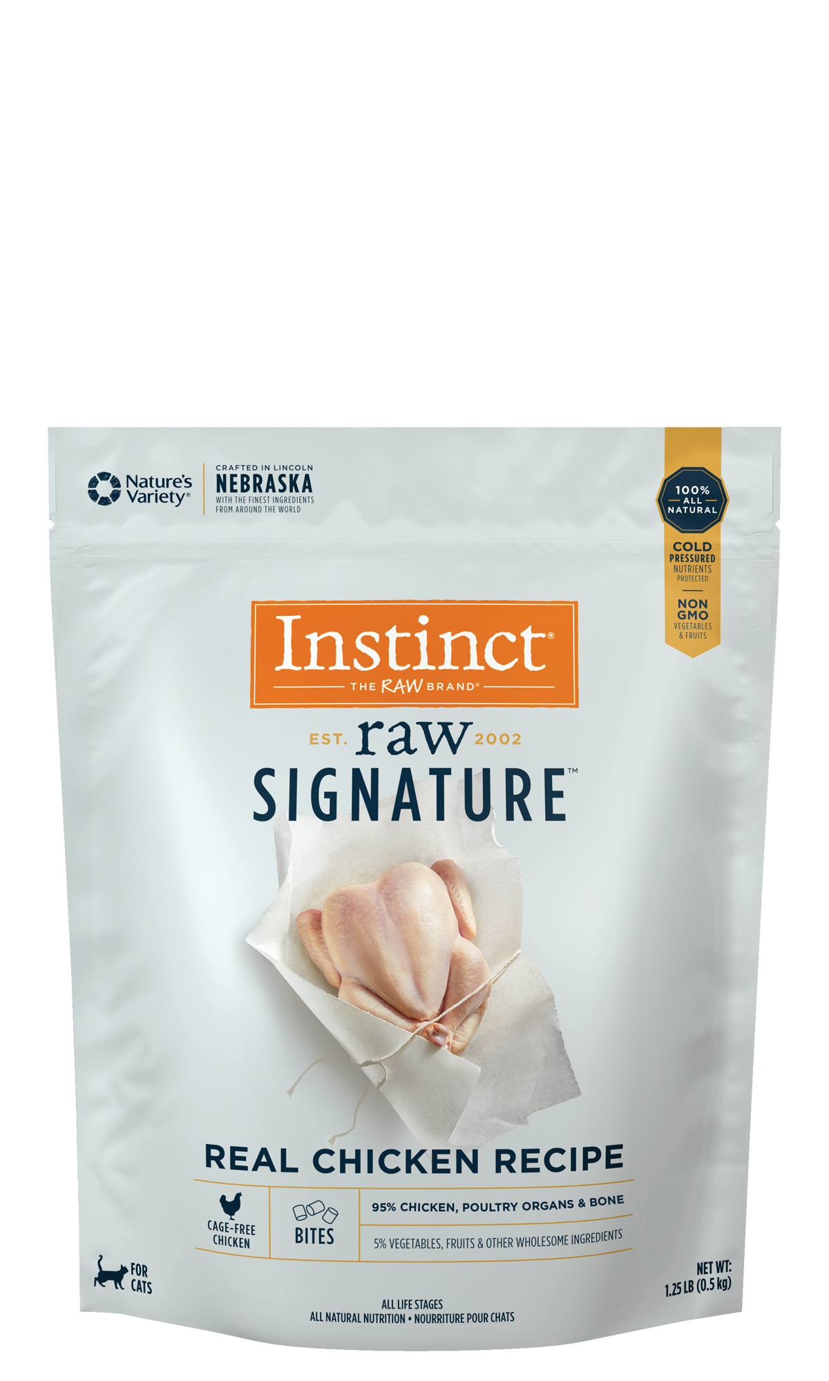 Instinct by Nature's Variety Raw Signature Real Chicken Recipe Frozen Bites Cat Food, 1.25-lb