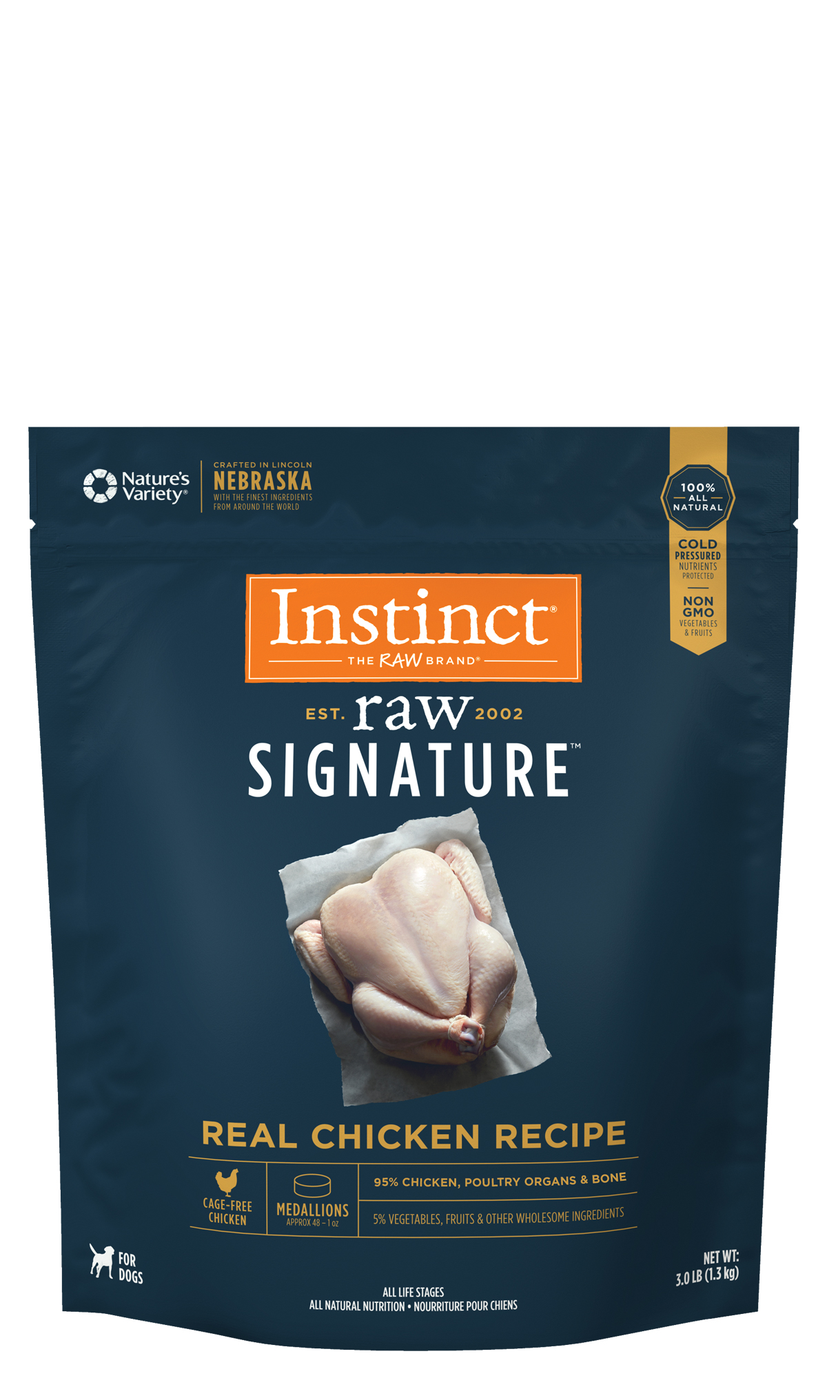 Nature's Variety Instinct Raw Signature Real Chicken Recipe Frozen Medallions Dog Food, 3-lb