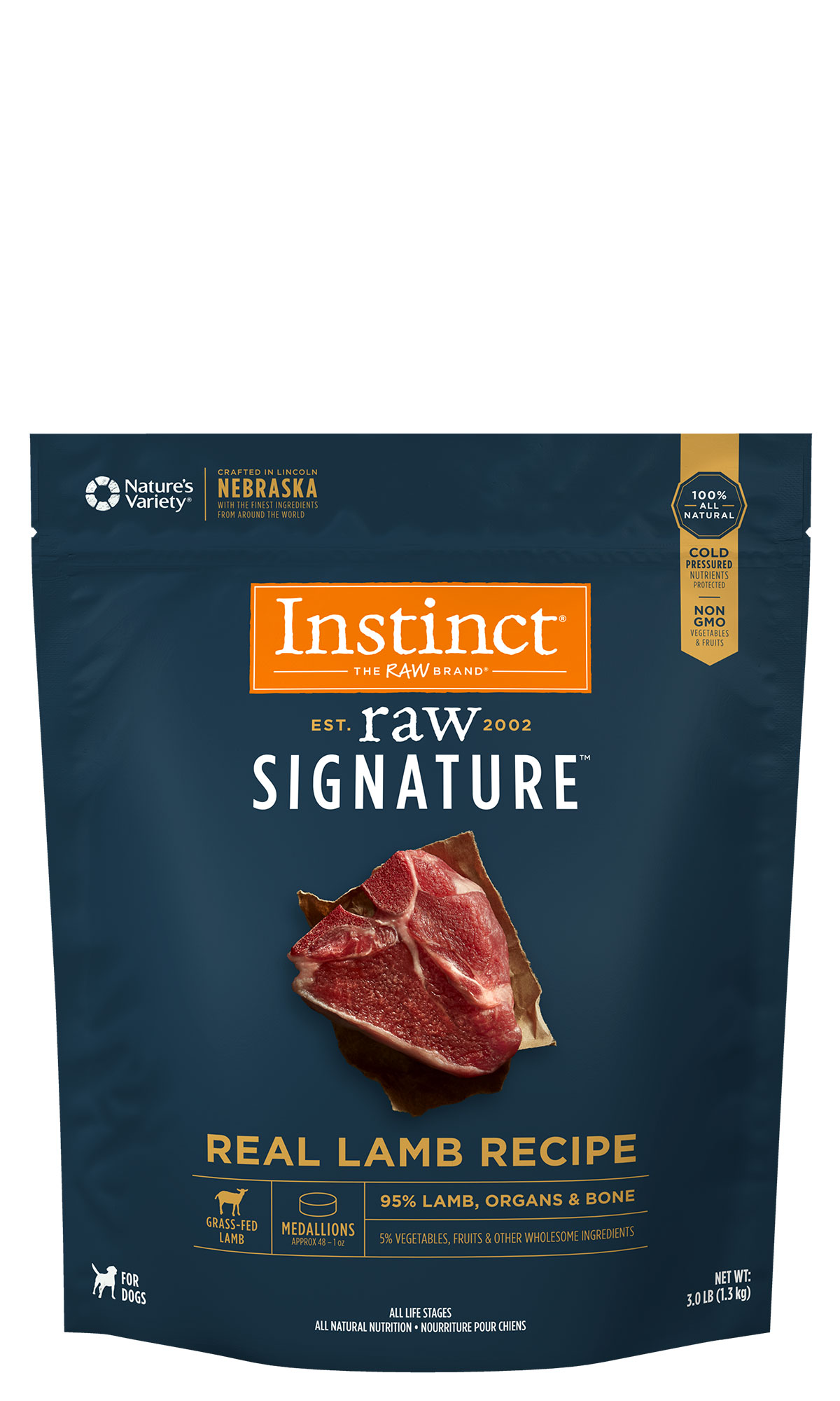 Instinct by Nature's Variety Raw Signature Real Lamb Recipe Frozen Medallions Dog Food, 3-lb