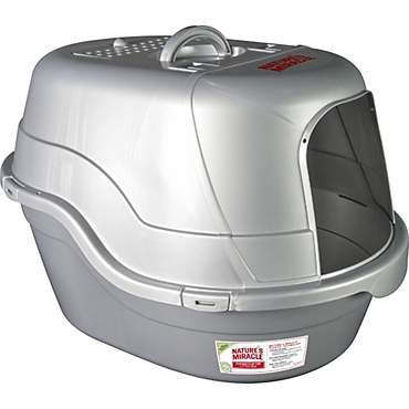 Nature's Miracle Oval Hooded Cat Litter Box, Silver