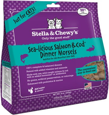 Stella & Chewy's Sea-licious Salmon & Cod Dinner Grain-Free Freeze-Dried Cat Food, 8-oz bag
