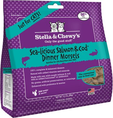 Stella & Chewy's Sea-licious Salmon & Cod Dinner Grain-Free Freeze-Dried Cat Food, 3.5-oz bag