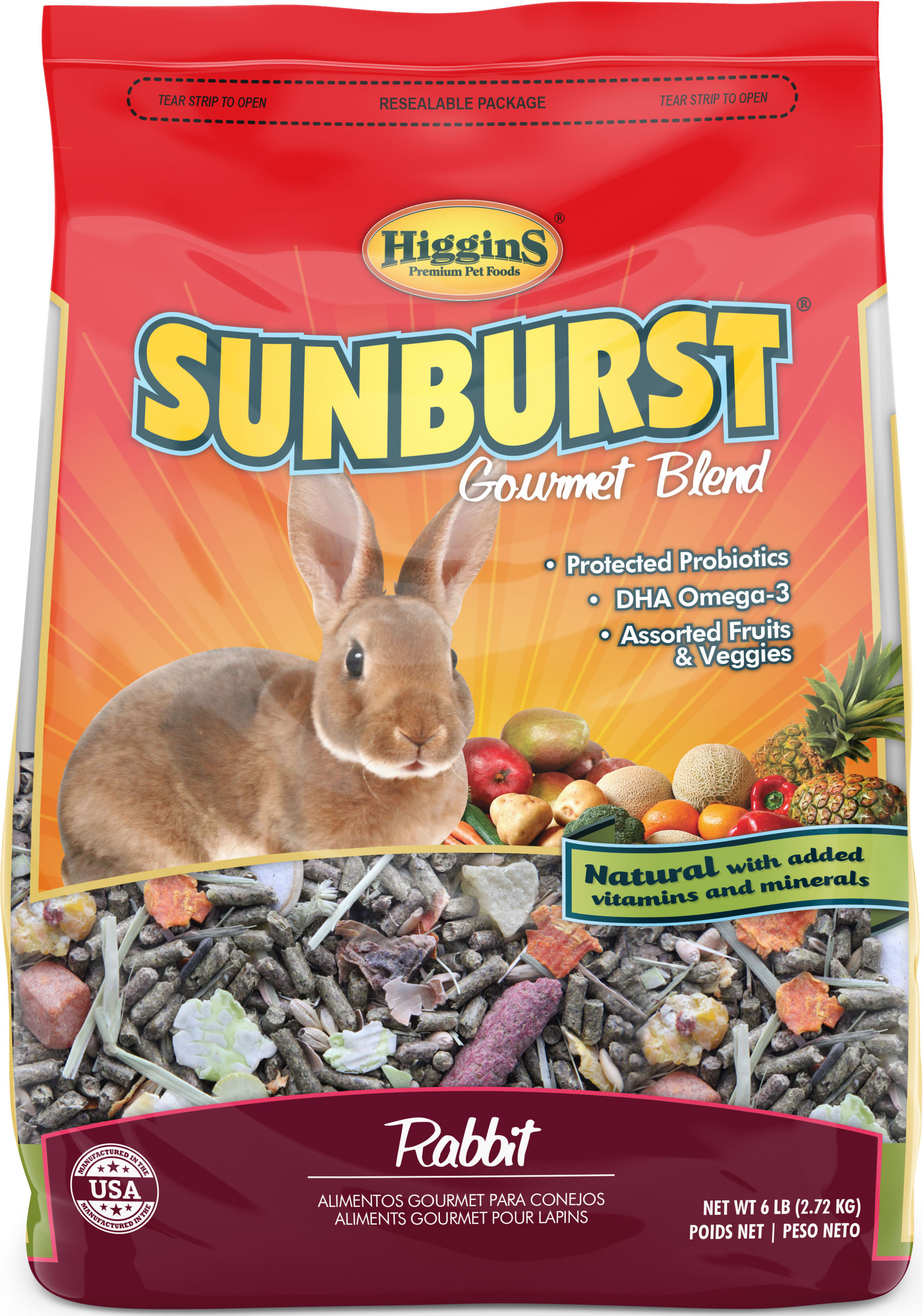 Higgins Sunburst Gourmet Blend Rabbit Food, 6-lb