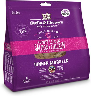 Stella & Chewy's Yummy Lickin' Salmon & Chicken Dinner Morsels Grain-Free Freeze-Dried Cat Food, 18-oz bag