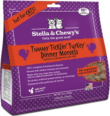 Stella & Chewy's Tummy Ticklin' Turkey Dinner Grain-Free Freeze-Dried Cat Food, 9-oz bag