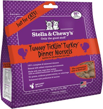 Stella & Chewy's Tummy Ticklin' Turkey Dinner Grain-Free Freeze-Dried Cat Food, 3.5-oz bag