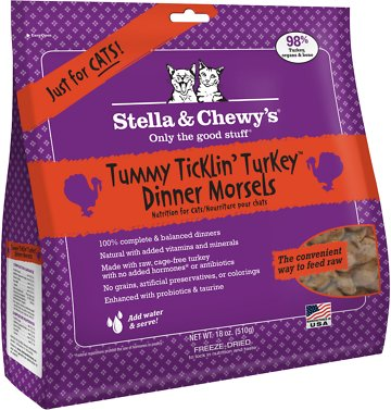 Stella & Chewy's Tummy Ticklin' Turkey Dinner Grain-Free Freeze-Dried Cat Food, 18-oz bag