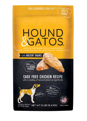 Hound & Gatos Cage-Free Chicken Recipe with Ancient Grains Dry Dog Food, 4-lb