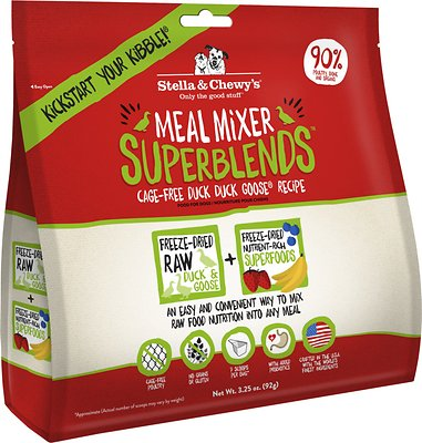 Stella & Chewy's SuperBlends Cage-Free Duck Duck Goose Recipe Meal Mixers Grain-Free Freeze-Dried Dog Food, 3.25-oz bag
