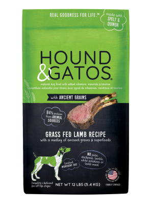 Hound & Gatos Grass-Fed Lamb Recipe with Ancient Grains Dry Dog Food, 4-lb