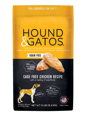 Hound & Gatos Cage-Free Chicken Recipe Grain-Free Dry Dog Food, 24-lb