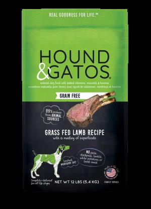 Hound & Gatos Grass-Fed Lamb Recipe Grain-Free Dry Dog Food, 4-lb