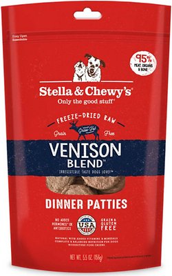 Stella & Chewy's Venison Blend Dinner Patties Grain-Free Freeze-Dried Dog Food, 5.5-oz bag