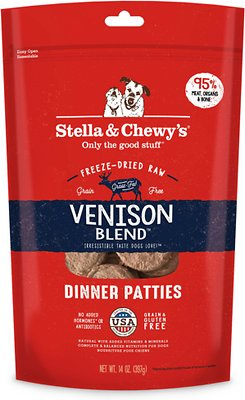 Stella & Chewy's Venison Blend Dinner Patties Grain-Free Freeze-Dried Dog Food, 14-oz bag