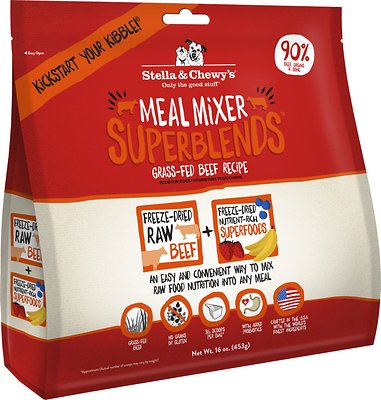 Stella & Chewy's SuperBlends Grass-Fed Beef Recipe Meal Mixers Grain-Free Freeze-Dried Dog Food, 16-oz bag
