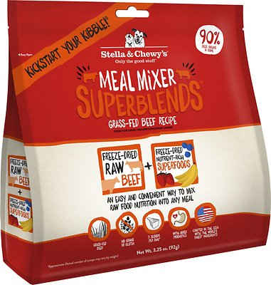 Stella & Chewy's SuperBlends Grass-Fed Beef Recipe Meal Mixers Grain-Free Freeze-Dried Dog Food, 3.25-oz bag