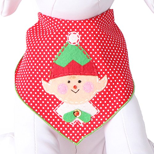 Tail Trends Christmas Cotton Dog Bandana, Elf, Medium