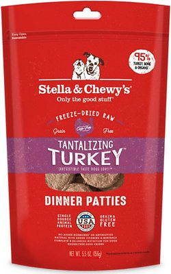 Stella & Chewy's Tantalizing Turkey Dinner Patties Grain-Free Freeze-Dried Dog Food, 5.5-oz bag