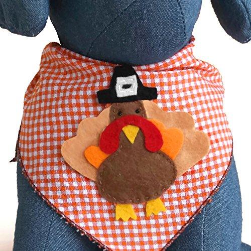 Tail Trends Thanksgiving Cotton Dog Bandana, Turkey, Medium