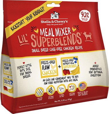 Stella & Chewy's Lil' SuperBlends Small Breed Cage-Free Chicken Recipe Meal Mixers Grain-Free Freeze-Dried Dog Food, 3.25-oz bag