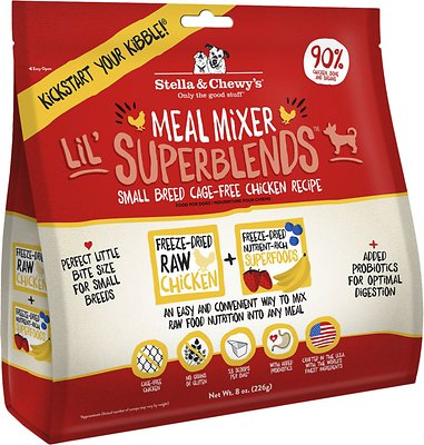 Stella & Chewy's Lil' SuperBlends Small Breed Cage-Free Chicken Recipe Meal Mixers Grain-Free Freeze-Dried Dog Food, 8-oz bag