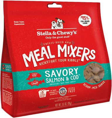 Stella & Chewy's Savory Salmon & Cod Meal Mixers Grain-Free Freeze-Dried Dog Food, 3.5-oz bag