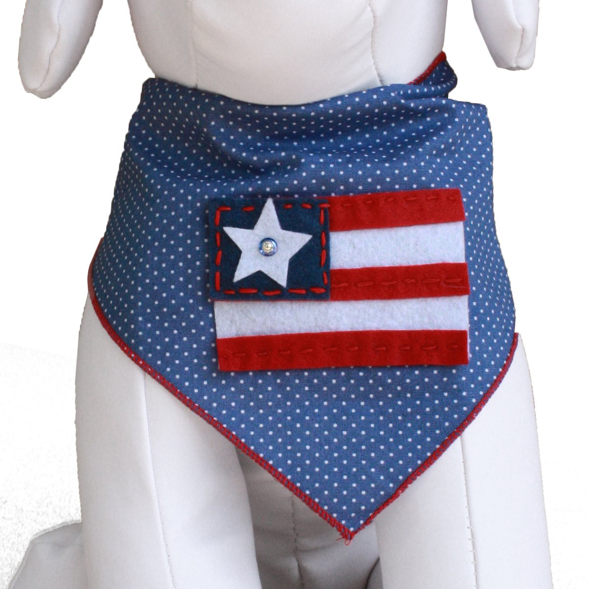 Tail Trends 4th of July Cotton Dog Bandana, Patriotic Flag, Large