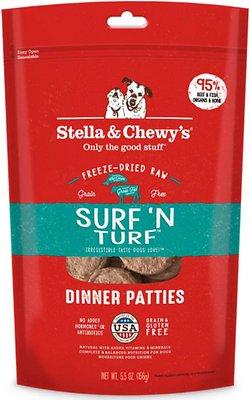 Stella & Chewy's Surf 'N Turf Dinner Patties Grain-Free Freeze-Dried Dog Food, 5.5-oz bag