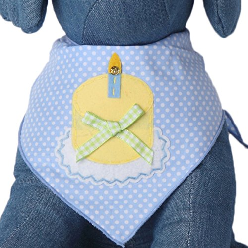 Tail Trends Happy Birthday Cotton Dog Bandana, Polka Blue, Medium