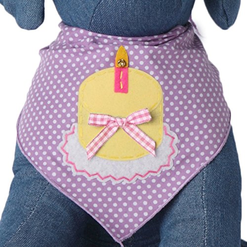 Tail Trends Happy Birthday Cotton Dog Bandana, Polka Pink, Medium